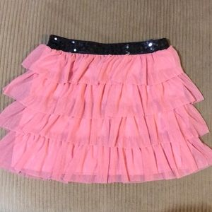 Candie's Skirts - Layered pink tulle skirt with black sequined waist